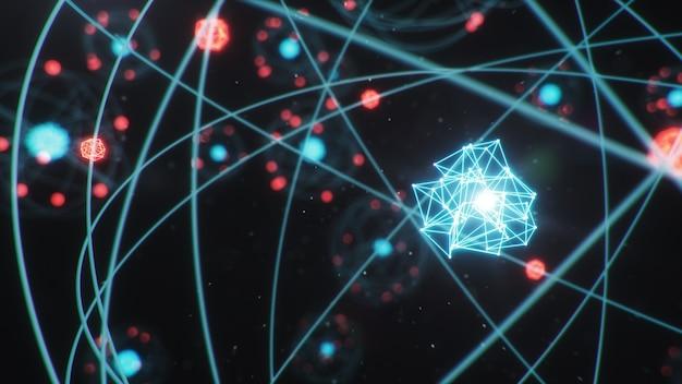 Struktura atomowa. świecące kule energii, reakcja jądrowa.