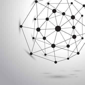 Struktura cząsteczka atom dna i tło komunikacji. pojęcie neuronów. połączone linie z kropkami. złudzenie układu nerwowego. medyczne naukowe ilustracja tło.