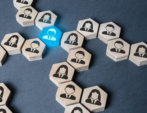 Struktura figur sześciokątnych z pracownikami jest połączona ze sobą za pomocą niebieskiej figury