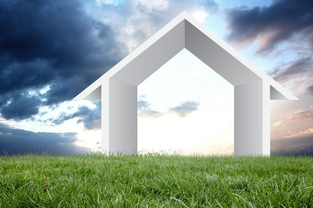 Struktura oświetlonym domu