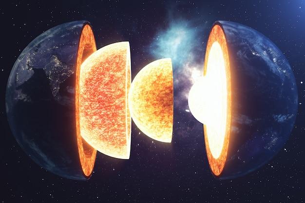 Struktura rdzenia ziemia. struktury warstw ziemi. struktura skorupy ziemskiej. przekrój ziemi w widoku kosmicznym. elementy tego obrazu dostarczone przez nasa. renderowanie 3d.