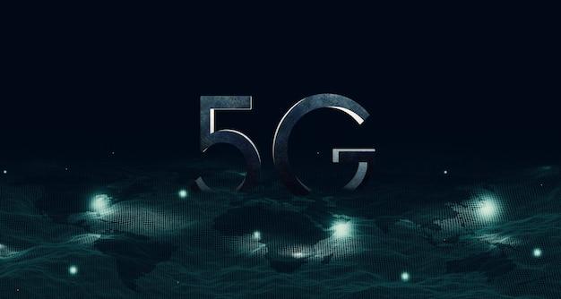 Struktura siatki na mapie cyfrowa komunikacja sieciowa 5g i internet system sieci bezprzewodowej 5g (internet rzeczy)