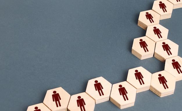 Struktura systemu ludzi firmy jako łańcuchy sześciokątów. rozwój i budowanie zespołu.