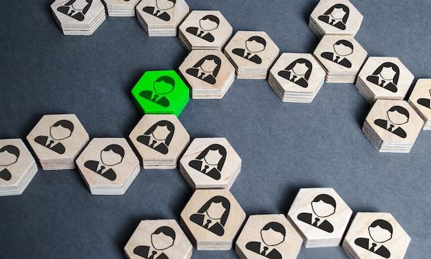 Strukturę sześciokątnych figur z pracownikami połączono ze sobą za pomocą zielonej figury
