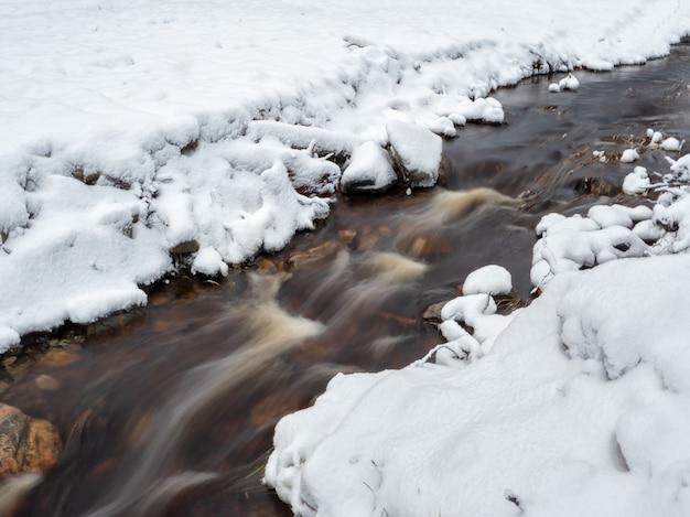 Strumień w ruchu, rozmycie wody. zimowy górski potok w karelii przepływa przez las. siła dzikiej, majestatycznej przyrody. turbulencja wodna