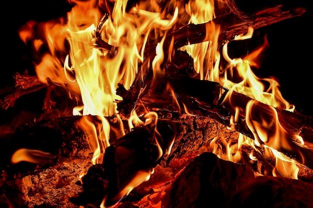 Strzał zbliżenie drewna płonącego w jasnych płomieniach