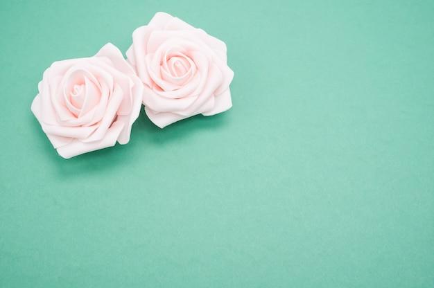 Strzał zbliżenie dwóch różowych róż samodzielnie na zielonym tle z miejsca na kopię
