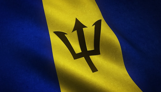 Strzał zbliżenie flagi barbadosu z ciekawymi teksturami