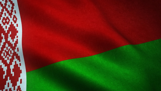 Strzał zbliżenie flagi białorusi z ciekawymi teksturami
