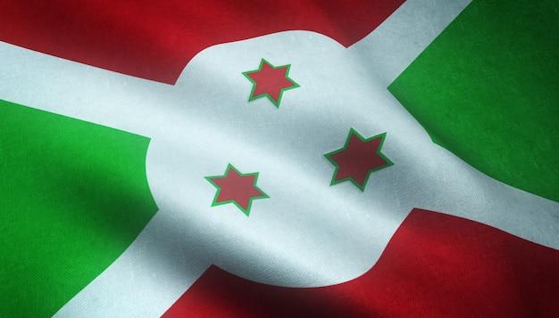 Strzał zbliżenie flagi burundi z wilgotnymi teksturami
