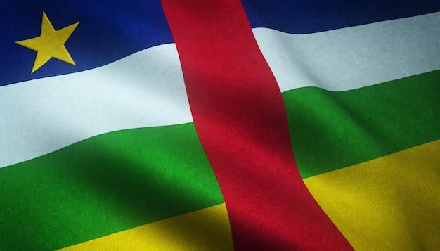Strzał zbliżenie flagi republiki środkowoafrykańskiej z ciekawymi teksturami