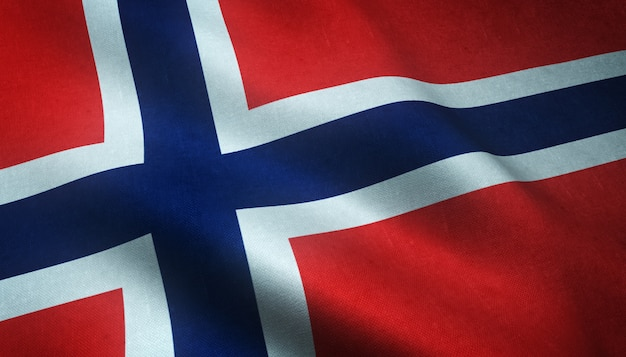 Strzał zbliżenie macha banderą norwegii z ciekawymi teksturami