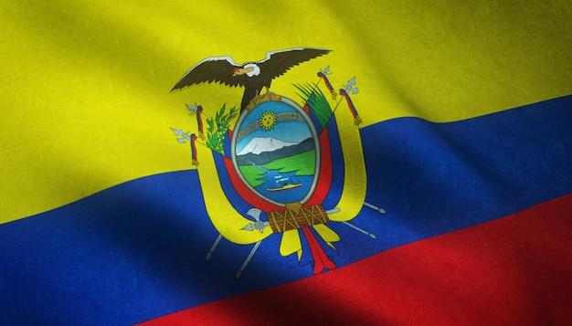 Strzał zbliżenie macha flagą ekwadoru z ciekawymi teksturami
