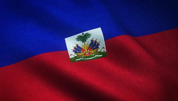 Strzał zbliżenie macha flagą haiti z ciekawymi teksturami