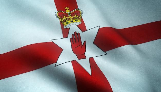 Strzał zbliżenie macha flagą irlandii północnej z ciekawymi teksturami