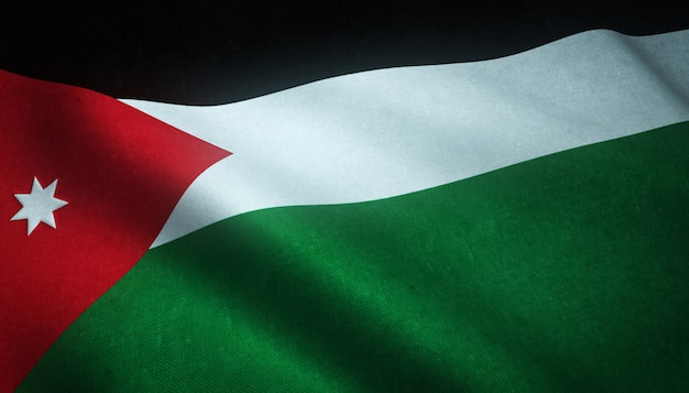 Strzał zbliżenie macha flagą jordanii z ciekawymi teksturami