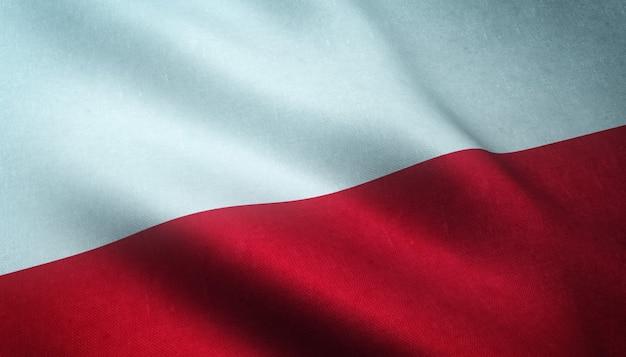 Strzał zbliżenie macha flagą polski z ciekawymi teksturami