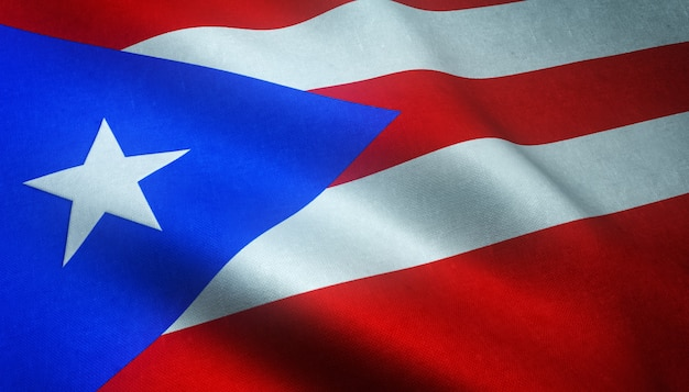 Strzał zbliżenie macha flagą puerto rico z ciekawymi teksturami
