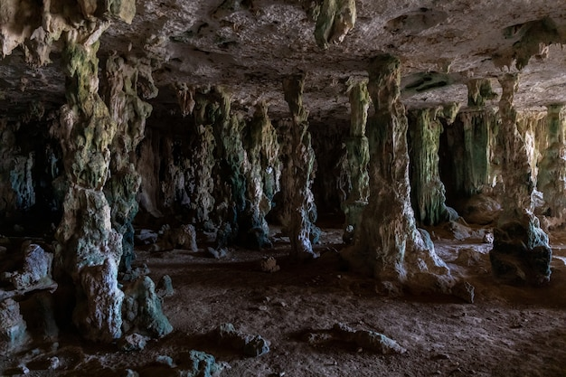Strzał zbliżenie starożytnej jaskini pełnej tajemnic na bonaire na karaibach