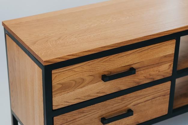 Strzał zbliżenie zestaw drewnianych szuflad