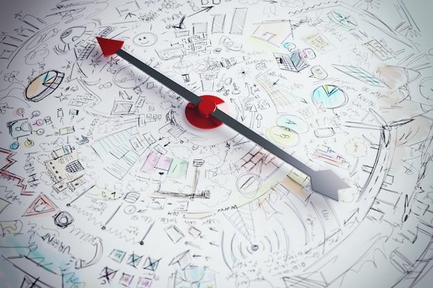Strzałka kompasu wskazująca na biznes słowo