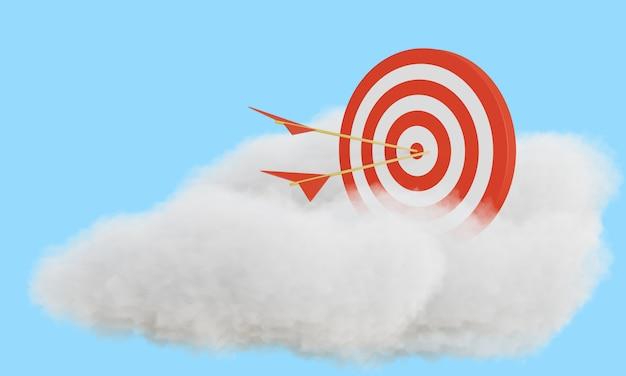 Strzałka trafiła w cel na chmurze. renderowania 3d