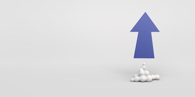Strzałka w górę rozwój i promocja nowego produktu lub usługi startup ilustracja 3d