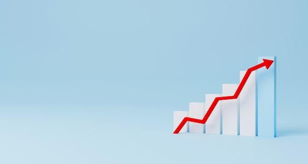 Strzałka wykres znak wzrostu krok schody poruszające się na jasnoniebieskim tle. rozwój biznesu do sukcesu i rosnąca koncepcja rocznego wzrostu przychodów. ilustracja 3d