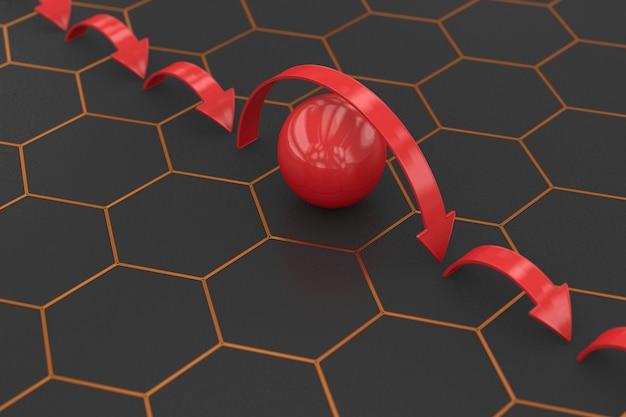 Strzałki przeskakując czerwoną piłkę na ciemnym tle. ilustracja 3d