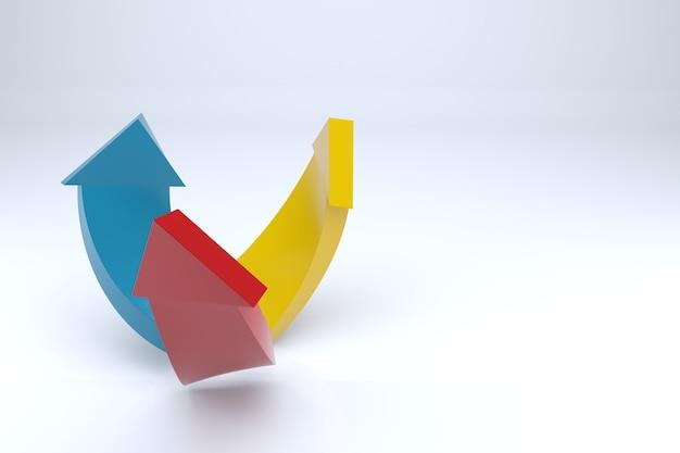 Strzałki sukcesu w biznesie. renderowanie 3d