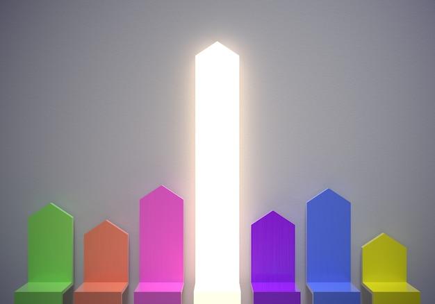 Strzałki wykresu w górę wyróżniają się z tłumu koncepcja renderowania 3d