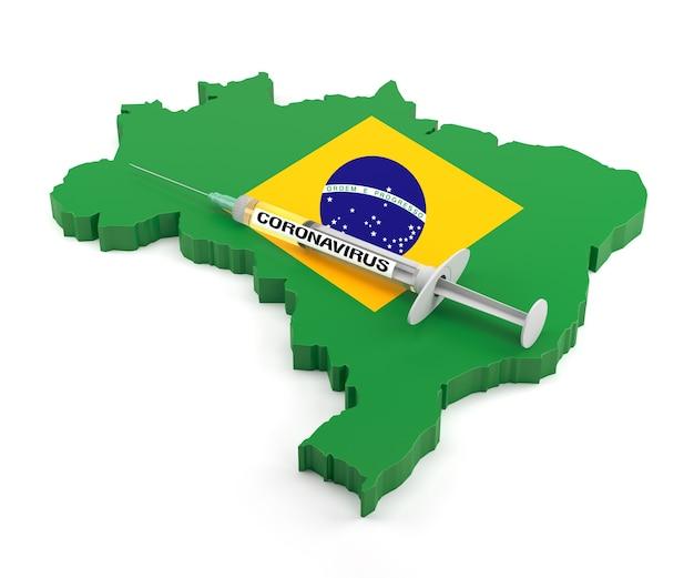 Strzykawka koronawirusa na mapie brazylii. renderowanie 3d
