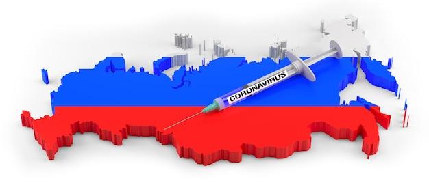 Strzykawka koronawirusa na rosyjskiej mapie. renderowanie 3d