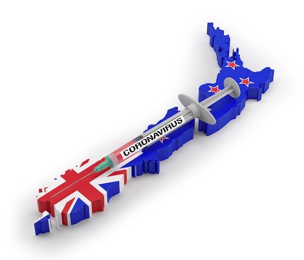 Strzykawka koronawirusowa na mapie flag nowej zelandii. renderowanie 3d
