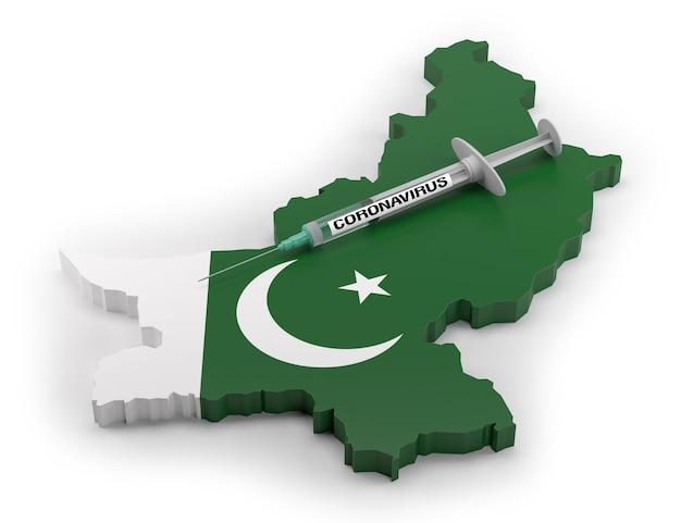 Strzykawka koronawirusowa na mapie flag pakistanu. renderowanie 3d