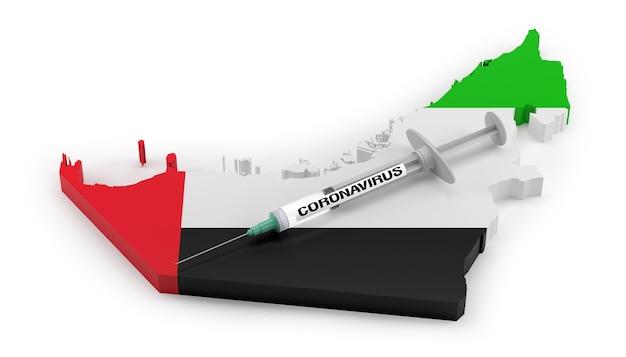 Strzykawka koronawirusowa na mapie flagi zjednoczonych emiratów arabskich. renderowanie 3d
