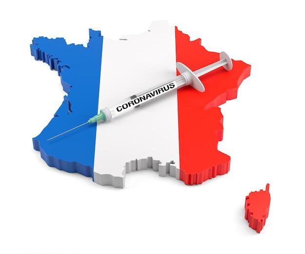 Strzykawka koronawirusowa na wytłaczanej mapie francji. renderowanie 3d