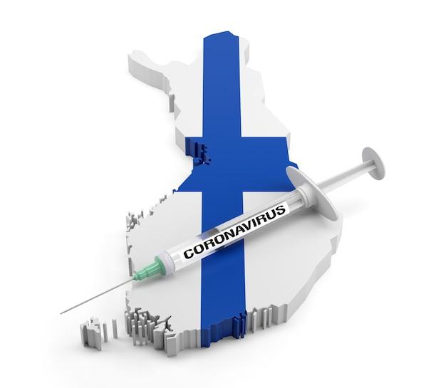 Strzykawka z koronawirusem na mapie finlandii. renderowanie 3d