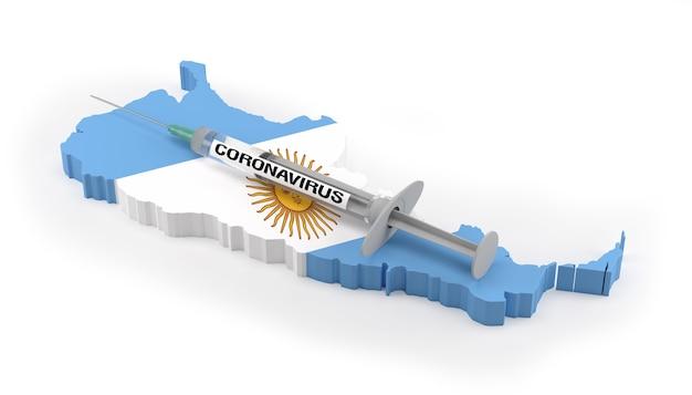Strzykawka Z Koronawirusem Na Mapie Flag Argentyny. Renderowanie 3d Premium Zdjęcia