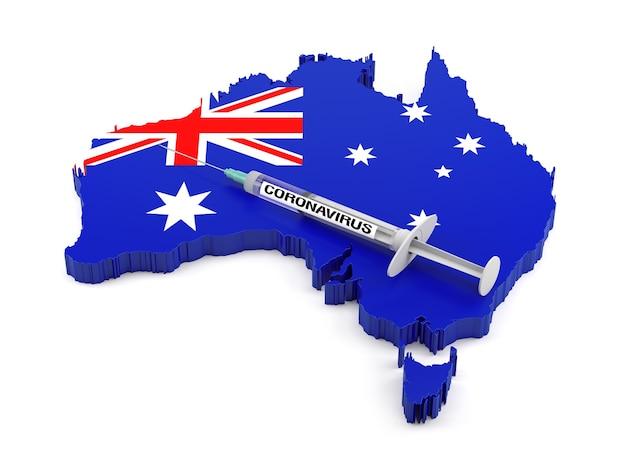 Strzykawka z koronawirusem na mapie flag australii. renderowanie 3d