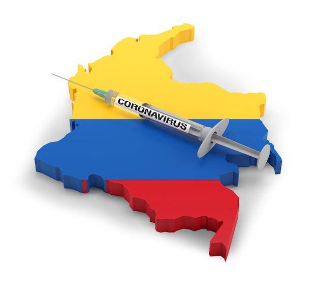 Strzykawka z koronawirusem na mapie flag kolumbii. renderowanie 3d