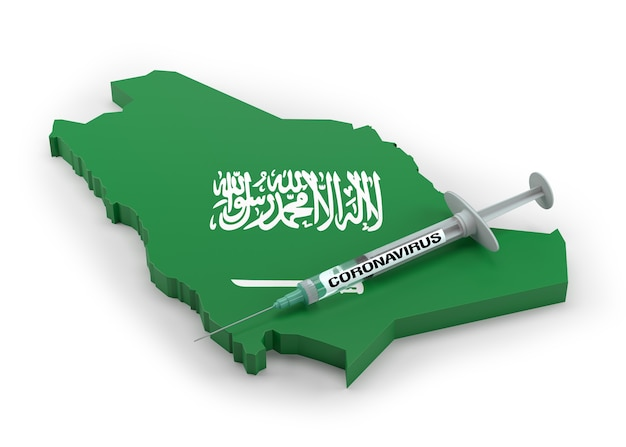 Strzykawka z koronawirusem na mapie flagi arabii saudyjskiej. renderowanie 3d