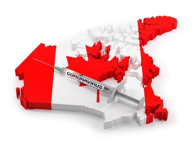 Strzykawka z koronawirusem na mapie flagi kanady. renderowanie 3d