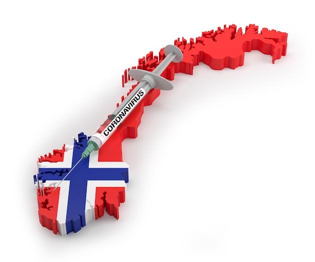 Strzykawka z koronawirusem na mapie flagi norwegii. renderowanie 3d