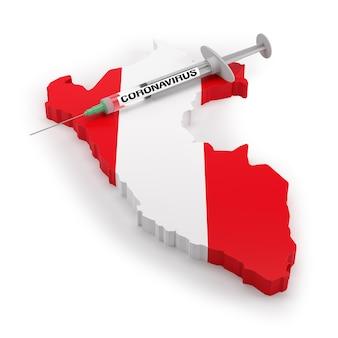Strzykawka z koronawirusem na mapie flagi peru. renderowanie 3d