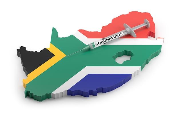 Strzykawka z koronawirusem na mapie flagi republiki południowej afryki. renderowanie 3d