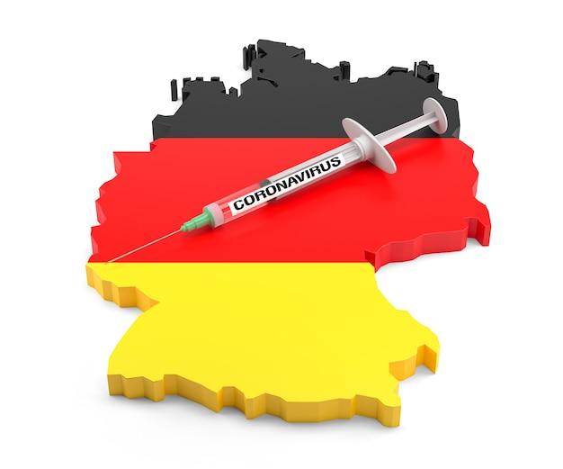 Strzykawka z koronawirusem na mapie niemiec. renderowanie 3d