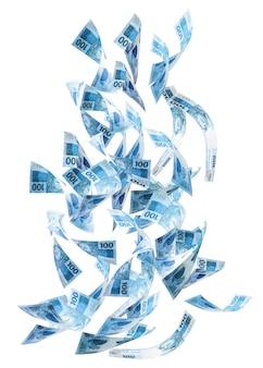 Stu reali banknotów spadających na na białym tle, koncepcja nagrody głównej