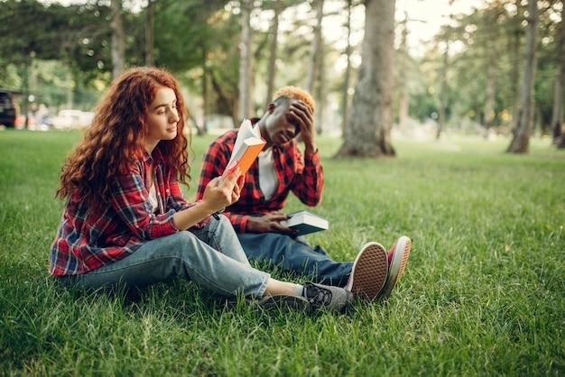 Studenci studiujący książki na trawie w letnim parku.