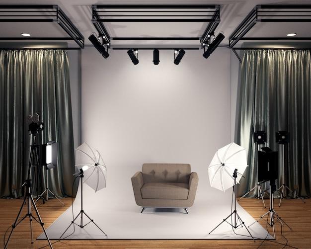 Studio big - nowoczesne studio filmowe z białym ekranem. renderowania 3d